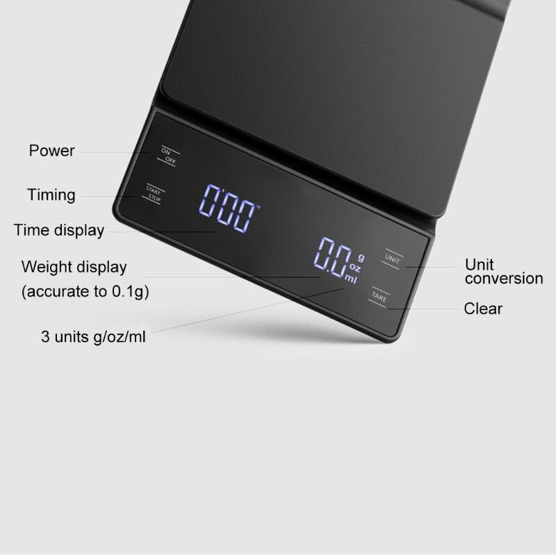 Digital Drip Coffee Scale with Timer 3kg/0.1g - Golly Ideal Shop