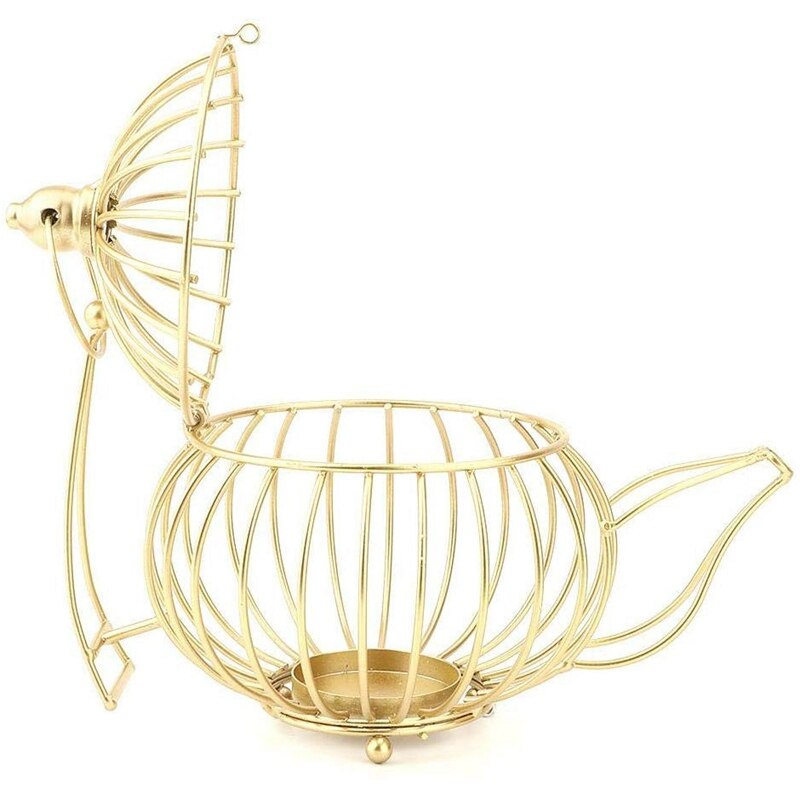 Gold Metal Teapot Shape Candle Holder - Golly Ideal Shop
