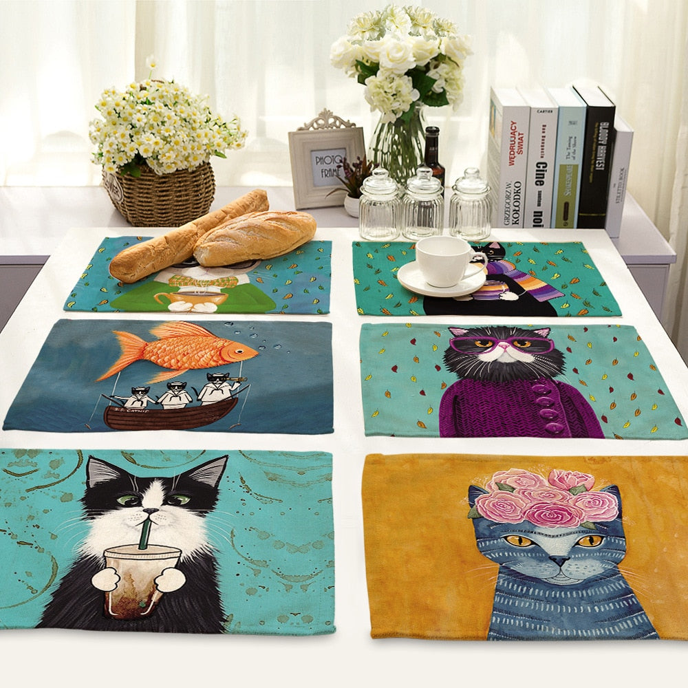 Cat Pattern Cotton Linen Table Mat A