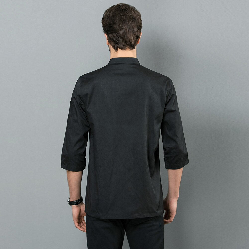 Stand Collar 3/4 Sleeve Catering Jacket