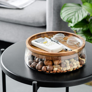 Creative Glass Storage Box With Wooden Lid - Golly Ideal Shop