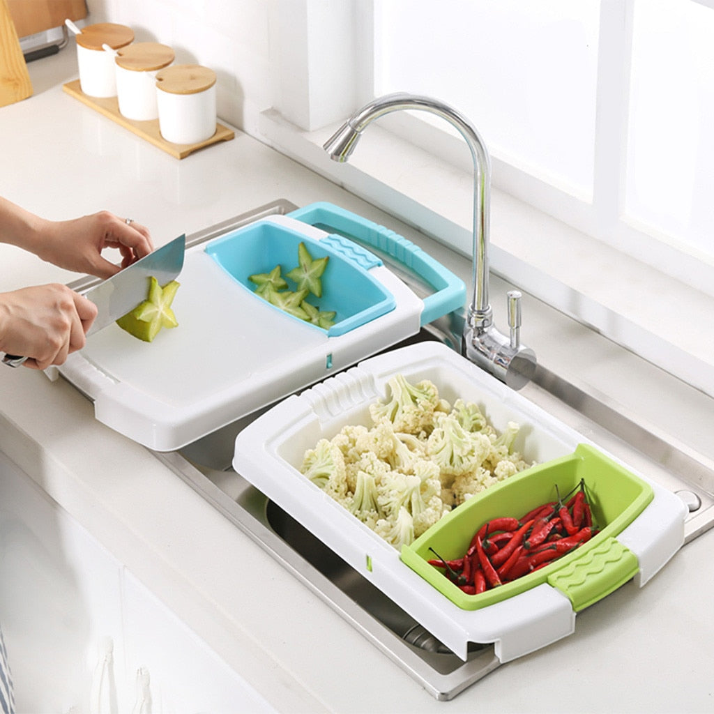 3 in 1 Cutting Board Drain Basket