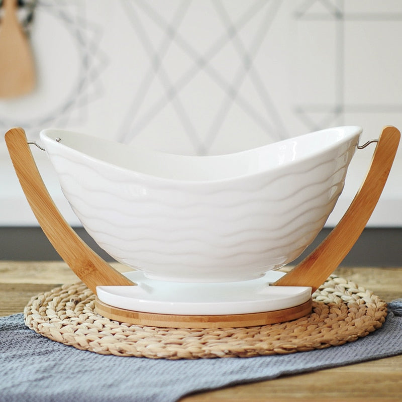 Fruit Bowl With Bamboo Stand - Golly Ideal Shop