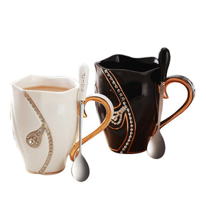 Rhinestone Coffee Mug With Spoon