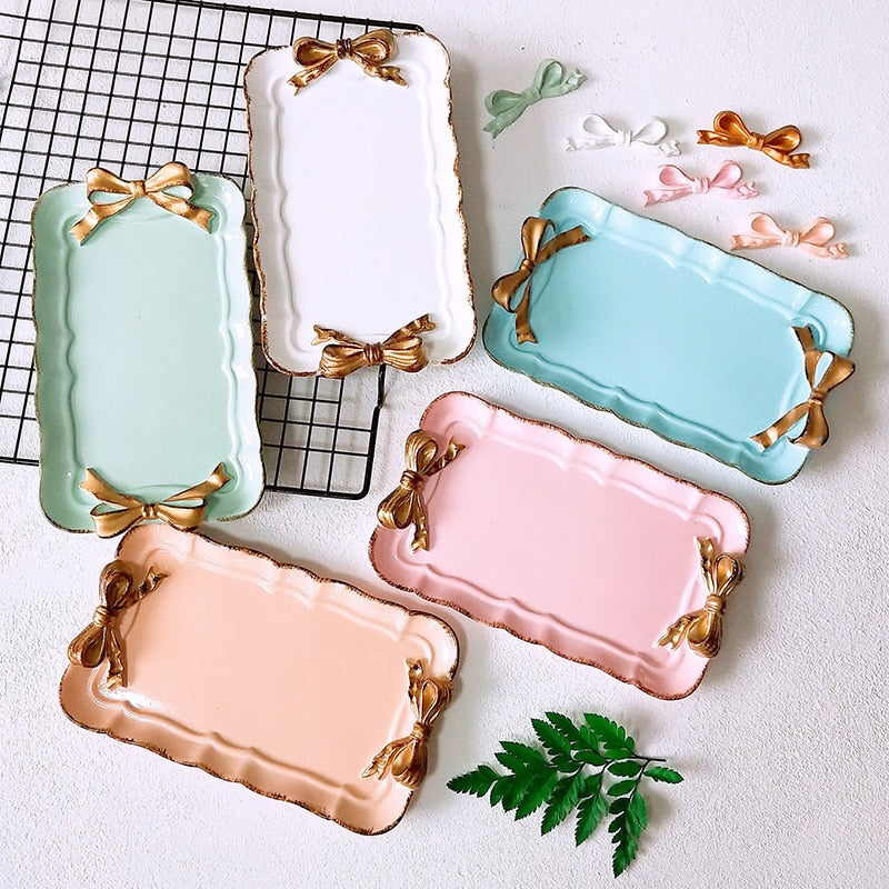 Bow-Knot Series Rectangular Plate - Golly Ideal Shop