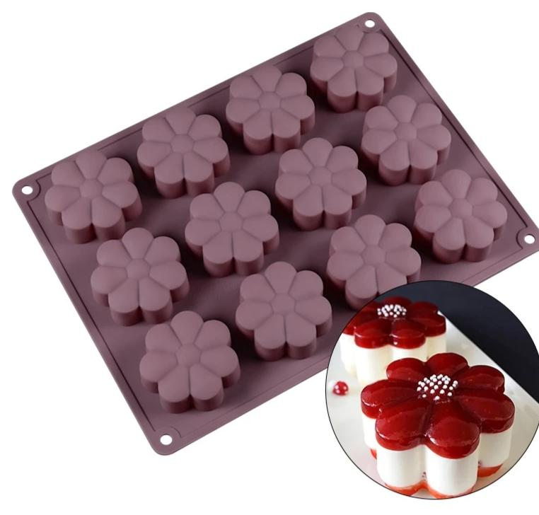 12 Cavity Silicone Flower Shape Mold - Golly Ideal Shop
