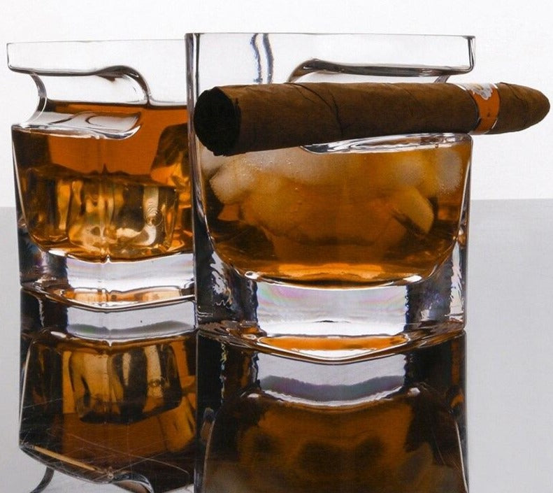 Whiskey glass with cavity for cigars (2PCS Set) - Golly Ideal Shop