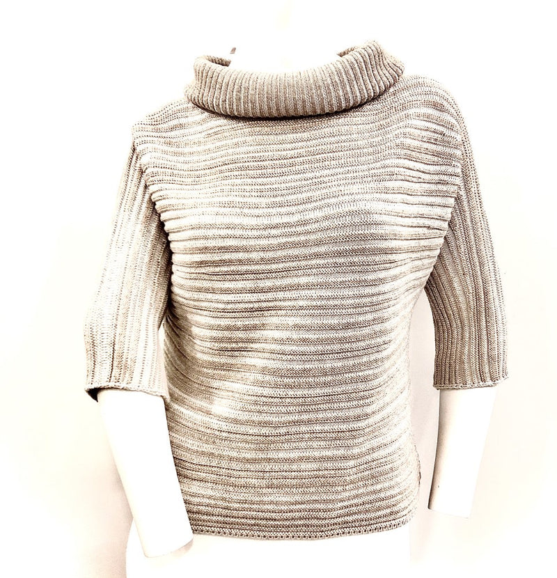 Gran Sasso Roll Neck 3/4 Sleeve Rib Knit Gs13242/14449