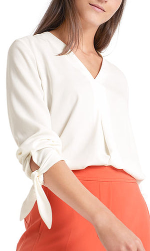 Marccain Pleat Front V Neck Blouse Pc5515w01