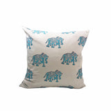Indian Block Print Pillow Cover | BLUE ELEPHANT 22x22