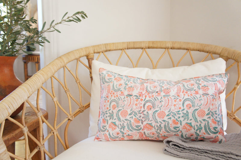 Indian Block Print Pillow Cover | OLIVIA 12x20