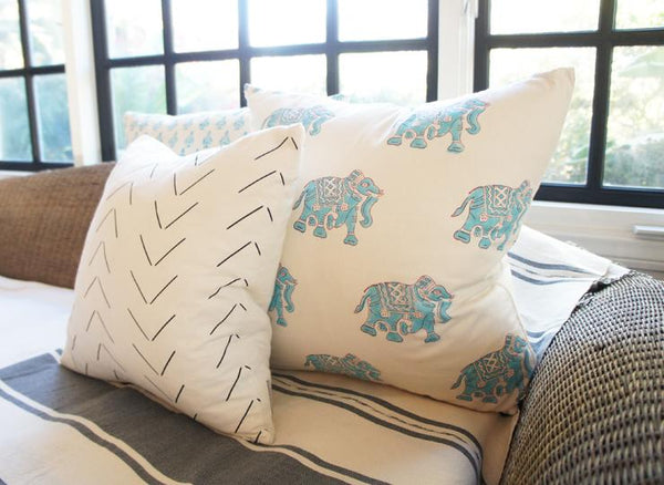 Indian Block Print Pillow | BLUE ELEPHANT 22x22