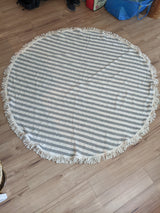 B+W Striped Circle Blanket w/ Fringe