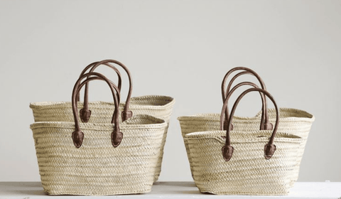 Hand-Woven Moroccan Baskets with Leather Handles