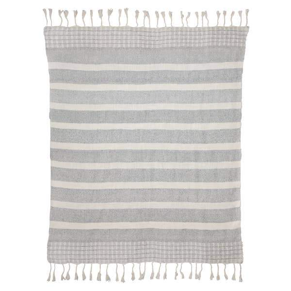 Grey & White Stripe Throw | DUSK