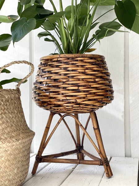 Wicker And Rattan Plant Stand | POPPY
