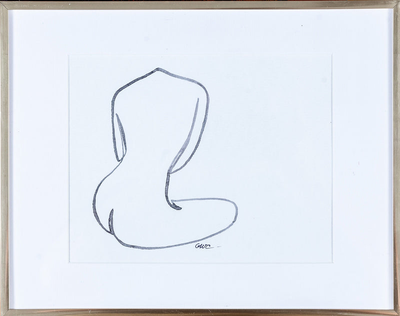 Original Nude Line Drawing (Back w/crossed legs) - Signed & Unframed