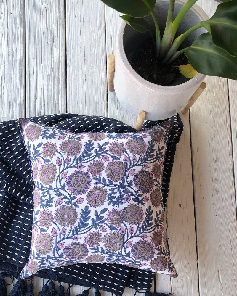 Indian Block Print Pillow Cover | KENDRA 12x20