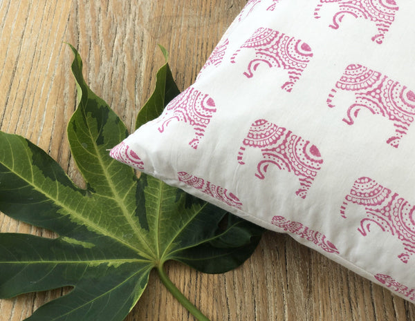Indian Block Print Pillow Cover | PINK ELEPHANT 12x20