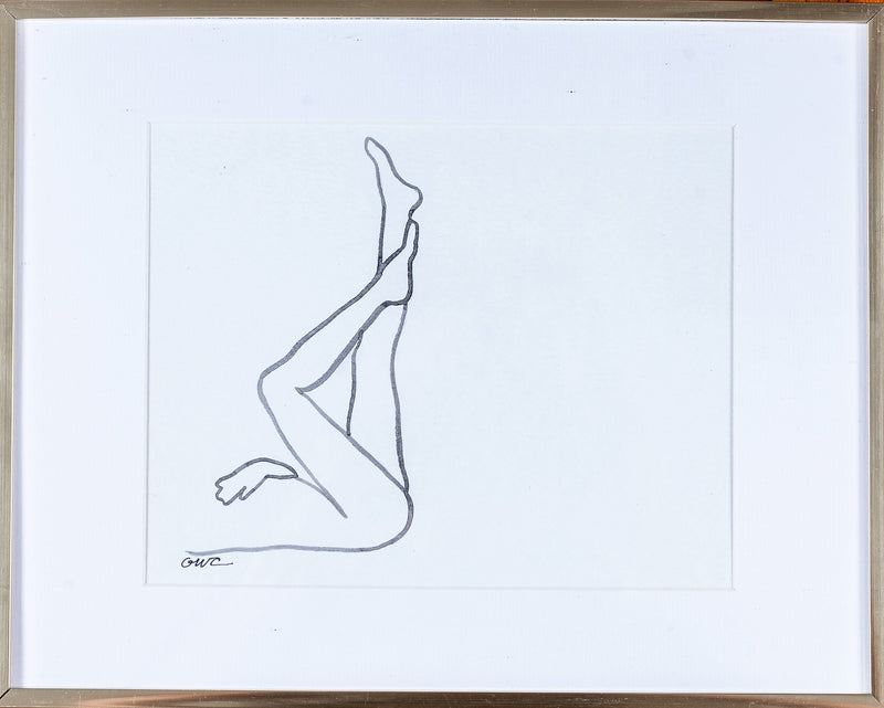 Original Nude Line Drawing (Legs) - Signed & Unframed
