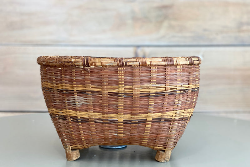 Vintage Tri-Color Wicker Plant Basket | CROWLEY
