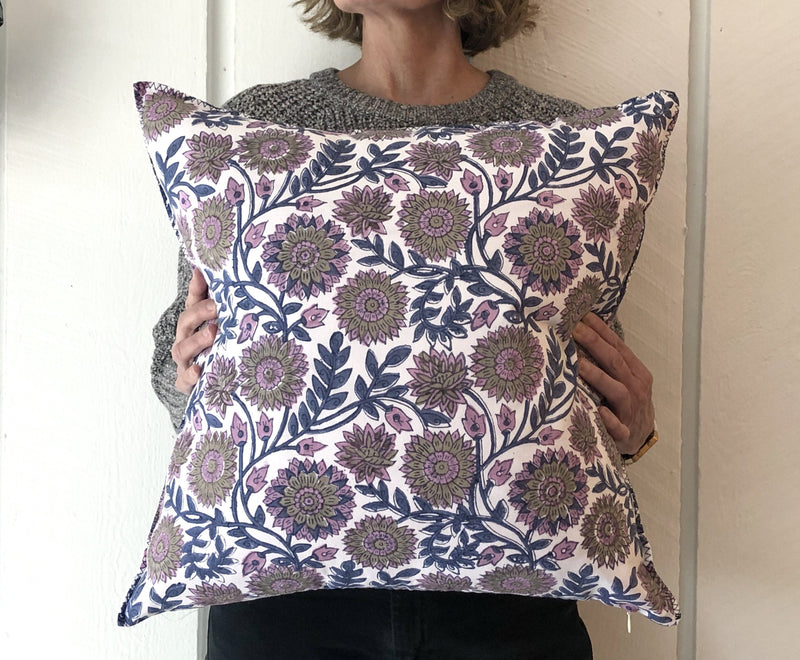 Indian Block Print Pillow Cover | KENDRA 22x22