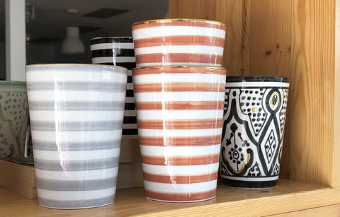 Moroccan Ceramic Cup | Orange Stripe