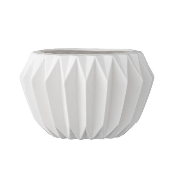 Stoneware Fluted Flower Pot | White