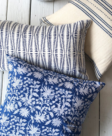 Indian Block Print Lumbar Throw Pillow | Fern 14x24