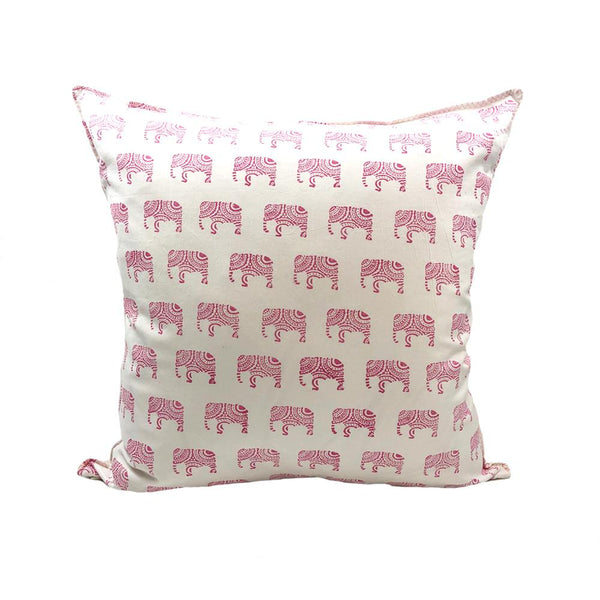 Indian Block Print Pillow Cover | PINK ELEPHANT 22x22