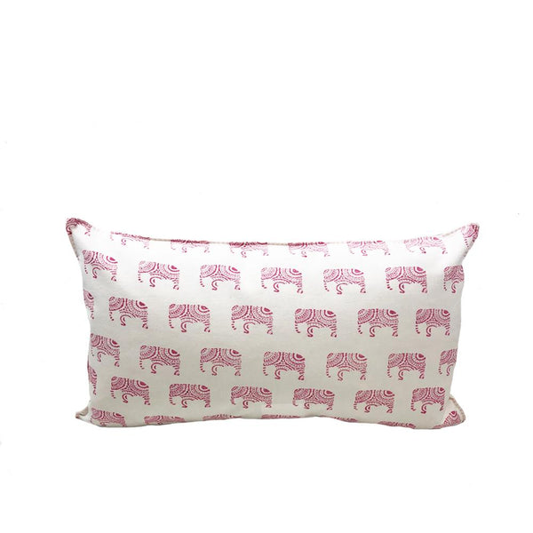 Indian Block Print Pillow | PINK ELEPHANT 12x20