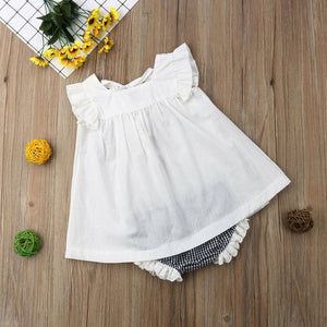 Ärmelloses Rüschenkleid Plaid Bloomers Outfit