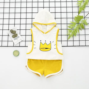 Crown Hoodie Shorts Set (2 Farben)