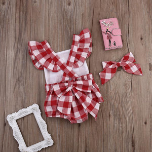 Plaid Strampler-Set mit Stirnband