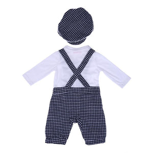 Plaid Overalls Set