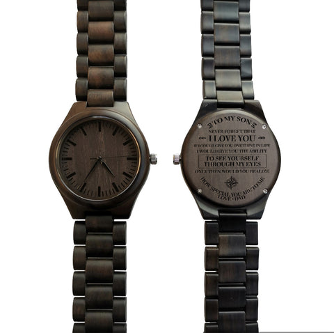 To My Son Through My Eyes From Dad Black Wooden Watch