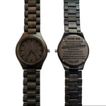 To My Son Win or Learn From Dad Black Wooden Watch