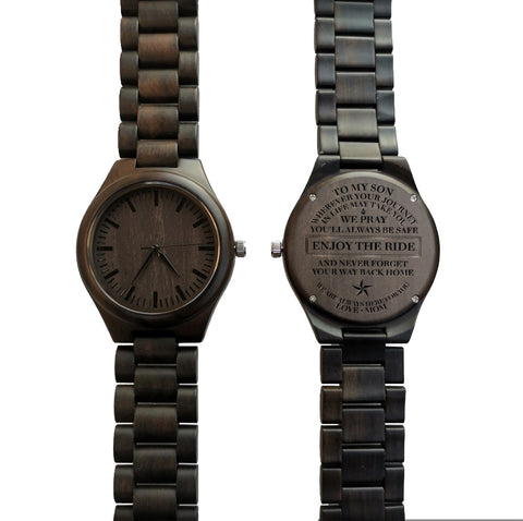 To My Son Enjoy The Ride Love Mom Black Wooden Watch