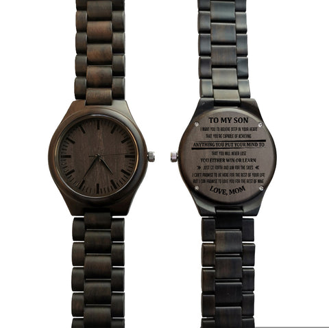 To My Son Win or Learn From Mom Black Wooden Watch