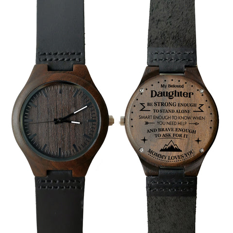 My Beloved Daughter Mommy Loves You Leather Wooden Watch