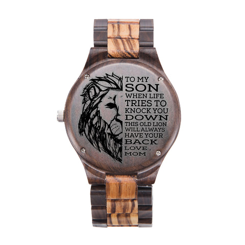 To My Son Lion From Mom Black & Yellow Wooden Watch