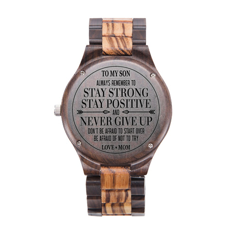 To My Son Stay Strong Love Mom Black & Yellow Wooden Watch
