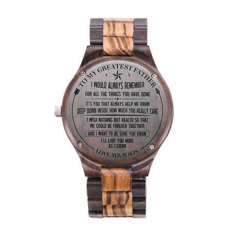 To My Greatest Father From Your Son Black & Yellow Wooden Watch