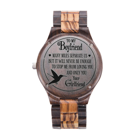 To My Boyfriend You & Only You Black & Yellow Wooden Watch