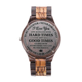 To My Daughter Learn From Everything Love Dad Black & Yellow Wooden Watch