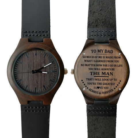 To My Dad You're The Greatest Leather Wooden Watch