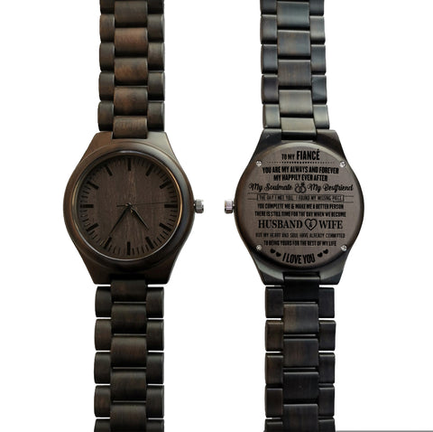 To My Fiancé I Love You Black Wooden Watch