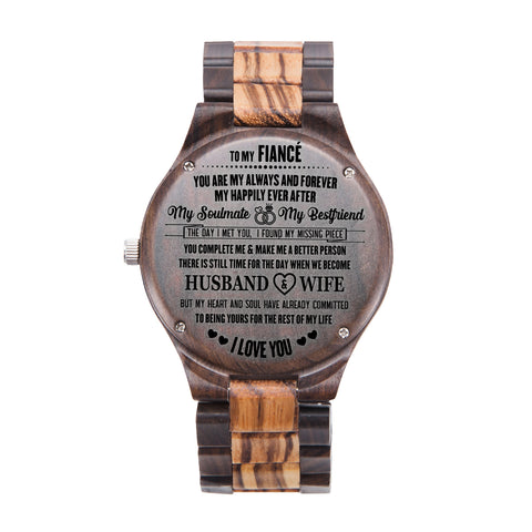 To My Fiancé I Love You Black & Yellow Wooden Watch