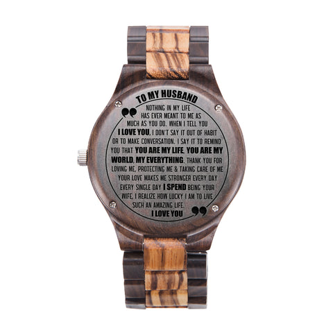 To My Husband You Are My Life Black & Yellow Wooden Watch