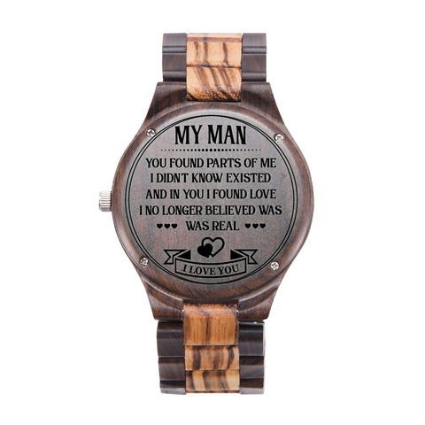 My Man In You I Found Love Black & Yellow Wooden Watch